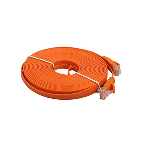 DZT1968 0.5/1/2/3/5/8M high speed Flat Ethernet CAT6 Network Cable Patch Lead RJ45 For Smart TV/PS4/Xbox (5M, Orange) (Network Lead)