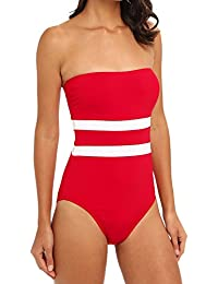 Striped Red White Bandeau One Piece Swimwear Swimsuit Maillot 6. RALPH  LAUREN