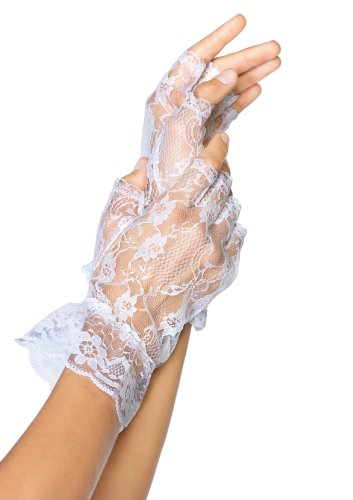 Leg Avenue Lace Fingerless Wrist Ruffle Gloves (1 Pair), One Size, White