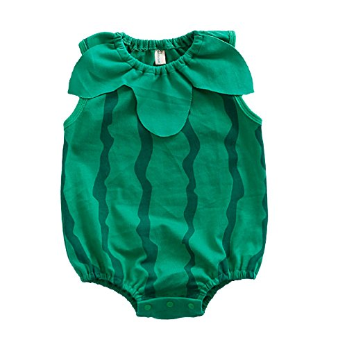 Fairy Baby Newborn Sleeveless Bodysuit Photography Prop Outfits,3-6M,Green Watermelon