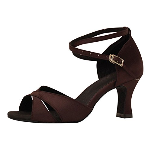 Scarpe 43 Dance Brown Latino Ballroom Da Leit Gift Per Yff Dancing Shoes Tango Ballo Donna 7cm qZZwTEC