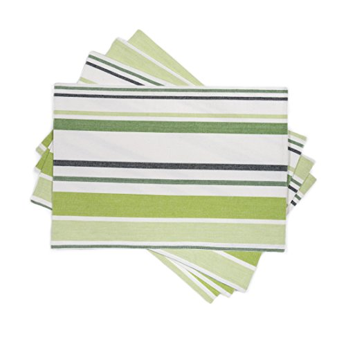 - LinenTablecloth Green Barcode-Striped Placemats, 4-Pack