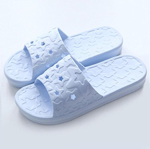 mhgao Ladies casa zapatillas de baño antideslizante suave interior Zapatillas azul claro