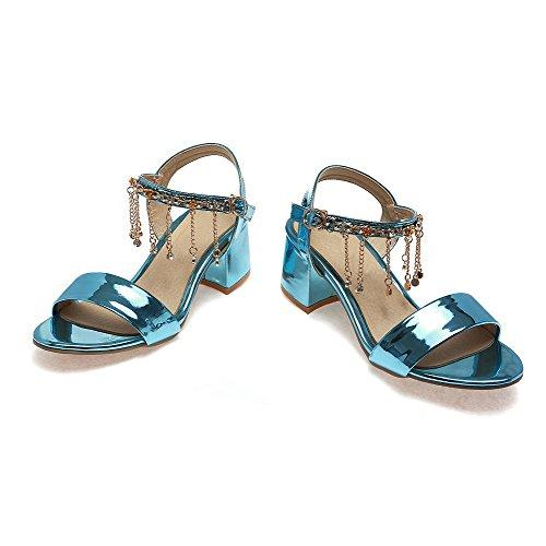 AgooLar Mujeres Sólido Hebilla Puntera Abierta Tacón ancho Sandalia con Cadenas Azul