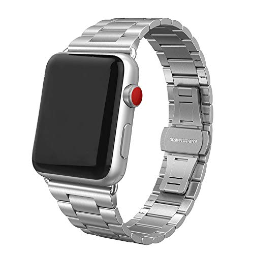 SWEES Stainless Steel Metal Bands Compatible with Apple Watch 42mm 44mm Series 4, Series 3, Series 2, Series 1 Sports & Edition, Replacement Ultra Thin Slim Link with Metal Clasp, Silver