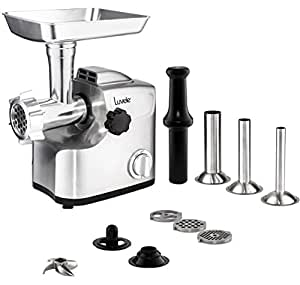 Luvele Ultimate Electric Meat Grinder Stainless Steel Sausage Maker 1800w (700w rated) Copper Motor Kibbe Maker Aluminium Body