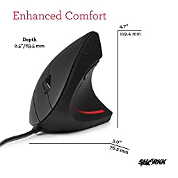 Sharkk Ergonomic Mouse High Precision Optical Vertical Mouse Adjustable DPI 800 / 1200 / 1600 Wired Computer Mouse