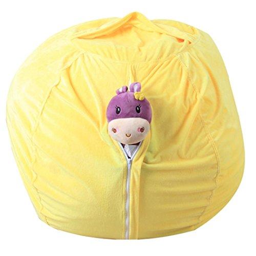 Sameno Large Stuffed Animal Storage Bean Bag Cover Kids Plush Toy Storage Bag Soft Pouch Fabric Chair (Yellow)