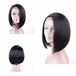 HAIR WAY Straight Short Bob Lace Front Wig L Part Synthetic Fiber Wig Black Roots For Women Heat Resistant Fiber Hair Wig for Daily Wear #1B