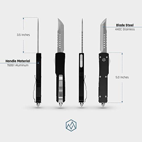 OTF Double Action Safety Knife (Matte Black & Satin Tanto Blade) by OTF (Image #2)