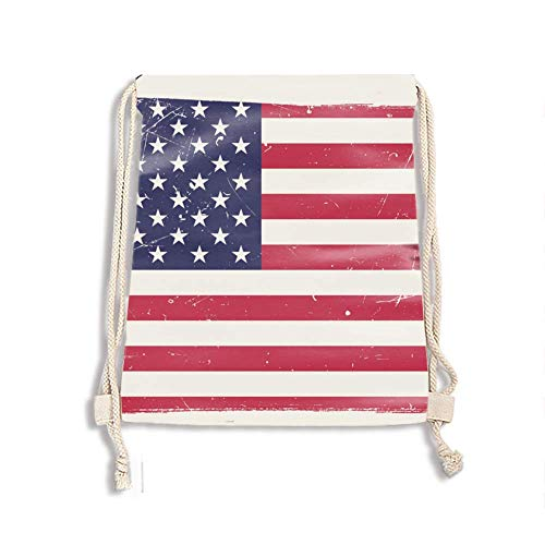 Drawstring Backpack Bulk Gym Sack Reusable and Customizable Cinch Bags (Patriotic United States Theme)