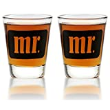 Mr. & Mr. Shot Glasses - Same Sex Gay Couple Set - Engagement, Wedding, Anniversary, House Warming, Host Gift, 1.75 oz