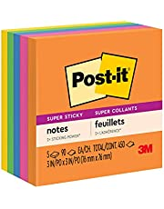 Post-it Super Sticky Notes, 3 x 3-Inches, Jewel Pop Collection, 5-Pads/Pack