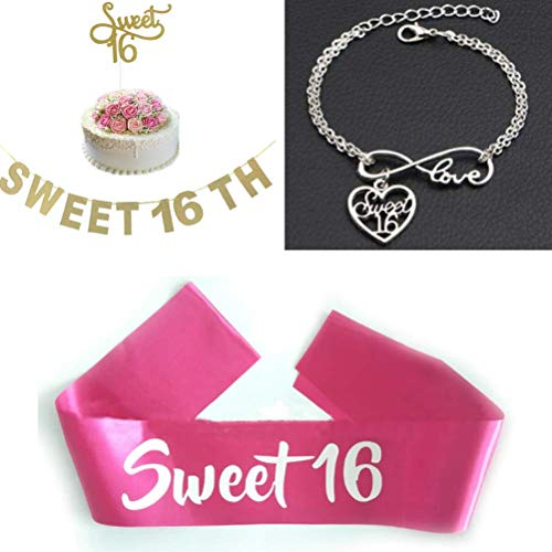 (Sweet 16 Cake Topper and Sweet 16 Birthday Banner, Sweet Sixteen Satin Sash and Sweet 16 Infinity Love Charm Bracelet Bundle - [4 Items])