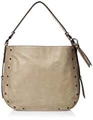 Catapult your daily style with the supple magnetic snap polyurethane Delfina Hobo bag with top carrying handle and grommet stud detail. Signature logo engraved hardware detail at back with zipper pocket and flat bottom. Polyester lining feat...