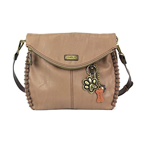 Chala Charming Crossbody Bag with Zipper Flap Top and Metal Chain - Light Brown - Paw ()
