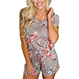 RichCoco Women's Summer Floral Printed Jumpsuit Casual Loose Short Sleeve Tie Back Jumpsuit Rompers Shorts (M, Khaki)