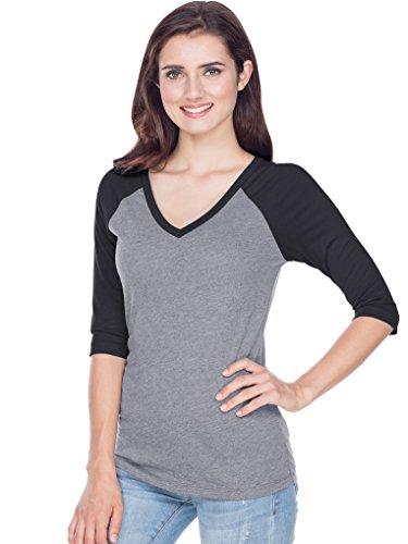 (Kavio! Junior Sheer Jersey Contrast V Neck Raglan 3/4 Sleeve Dark H.Gray/Black XL )