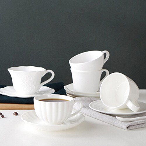 Classical Simple style Tea Cup Ceramic Coffee Mug Pure White by Kylin Express (Image #1)