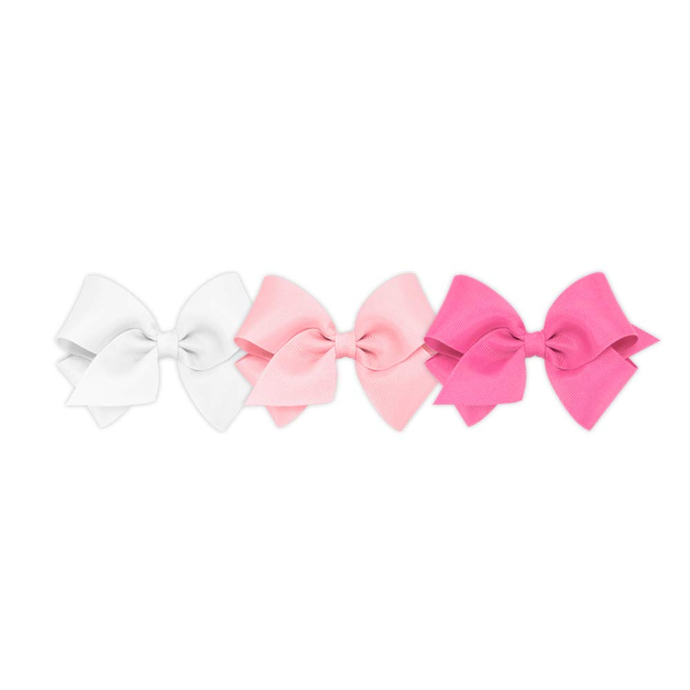 Wee Ones Girls' Small Bow 3 pc Set Solid Grosgrain Variety Pack on a WeeStay Clip - White, Light Pink and Hot Pink