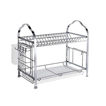 Amazon.com: BJLWT Dish Drying Rack, 2 Tier Dish Rack with ...