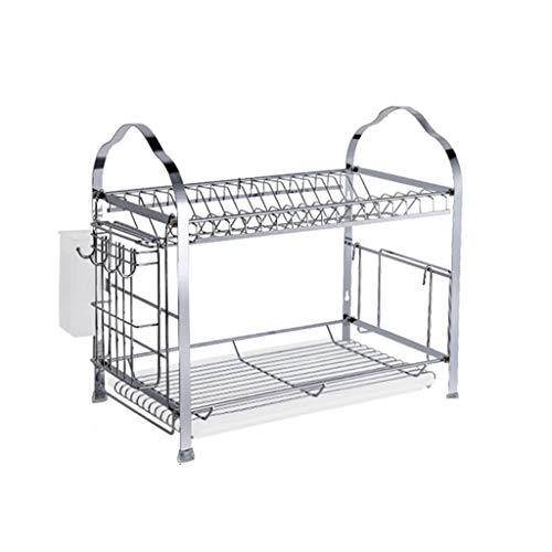 WT Storage racks Dish Drying Rack, 2 Tier Dish Rack with Dra