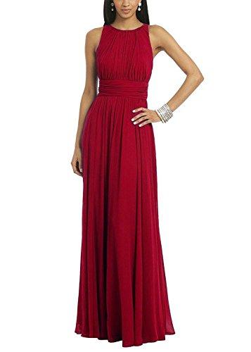 Ssyiz Custom Women's Elegant Pleated Chiffon Floor Length Evening Party Dress