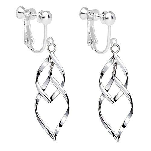 Clip on Earrings Womens Classic Double Linear Loops Design Twist Wave Dangle Loops for Women Girls