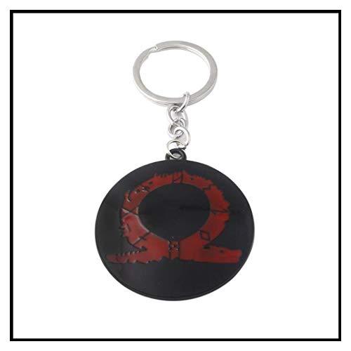 In Box RJ 2018 Hot Game God Of War 4 Keychains 3D Kratos Face Mask Keyring Kui Ye Axe Hammer Knife Weapons Model Men Cosplay Car Gift]()