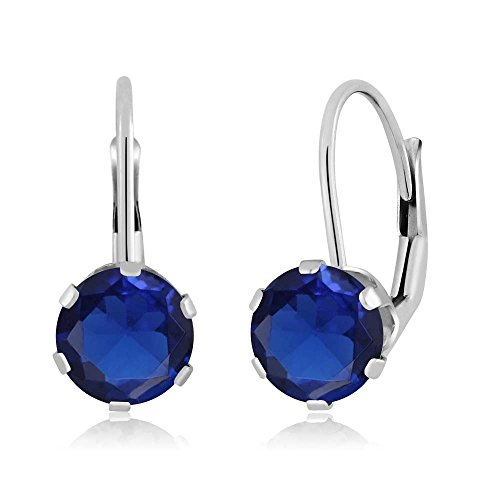2.00 Ct Round Blue Simulated Sapphire 14K White Gold Earrings (White Earrings Sapphire Fancy)