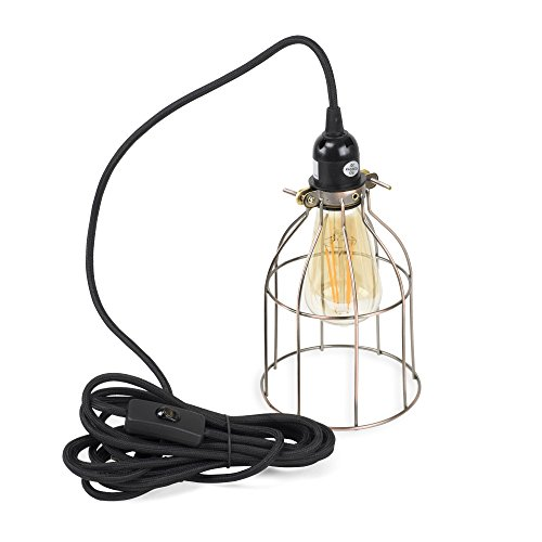 Vintage Design Curved Metal Wire Cage Pendant Lamp with 15' Plug-in Fabric Cord Toggle Switch and Edison Light Bulb in (Curved Wire Design)