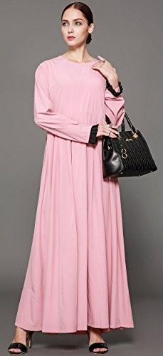Ababalaya Women's Elegant Modest Muslim Full Length O-Neck Solid Pleated Runway Abaya S-4XL,Pink,Tag Size L = US Size 10-12 by Ababalaya (Image #5)
