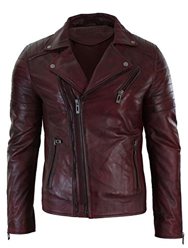 (Mens Slim Fit Cross Zip Vintage Brando Washed Real Leather Jacket Black Brown Tan Burgundy)