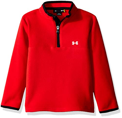 Under Armour Boys' Toddler' Quarter Zip Pull Over Jacket, red/Reflective, - Pullover Red Fleece Jacket