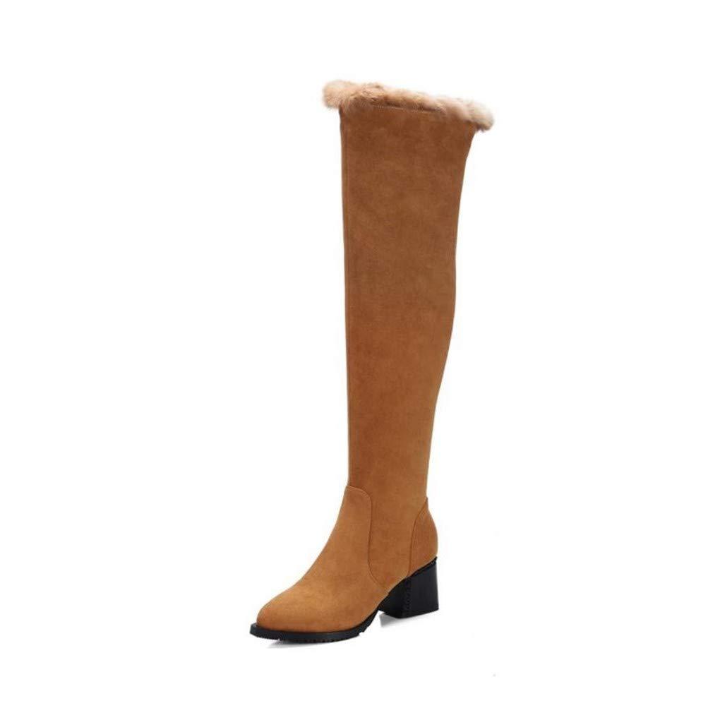 HAOLIEQUAN Größe 33-41 Warm Real Winter Schuhe Schuhe Schuhe Frauen Thick High Heel Overknee Schnee Stiefel Frauen Zip Spitz Gummizug aebc66