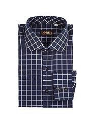 LORD's Men's Window Pane Slim-Fit Cotton Shirt 16 Dark Blue & Grey