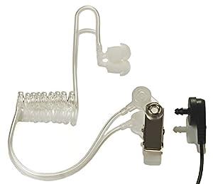 Radio earpiece 2-Pin, (4 Pack) Covert Acoustic Tube, Walkie Talkie earpiece with a Mic PTT, Walkie Talkie Headset for Kenwood Baofeng Puxing Wouxun.