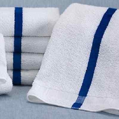 60 (5 Dozen) New 22x44 Blue Stripe Bath Towels 6# Per Dozen Hotel Pool Towels by GT