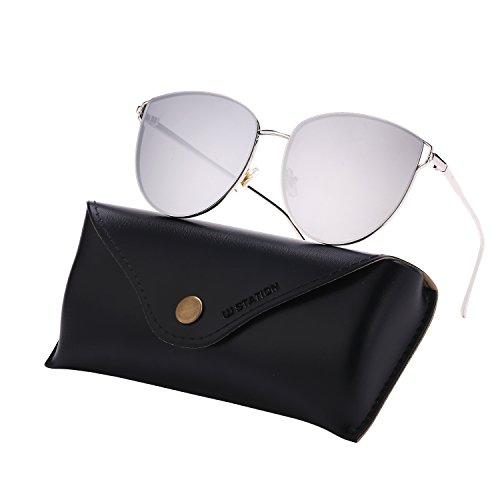 (Mirrored Sunglasses for Women, Cat Eye Sunglasses, Rimless Sunglasses with Sunglasses Case (silver))