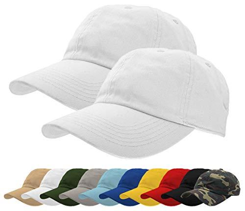 TrueM Clothing Set of 2 Classic 100% Washed Cotton Plain Baseball Caps Dad Hats Polo Style Adjustable Size Unstructured Soft (White 2 ()