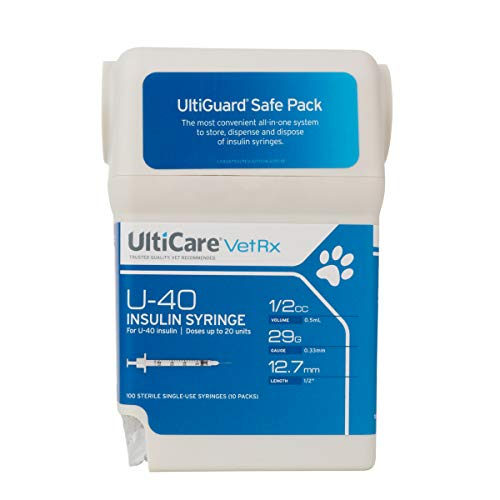 UltiCare VetRx U-40 UltiGuard Safe Pack Pet Insulin Syringes (1/2cc, 29G x 1/2