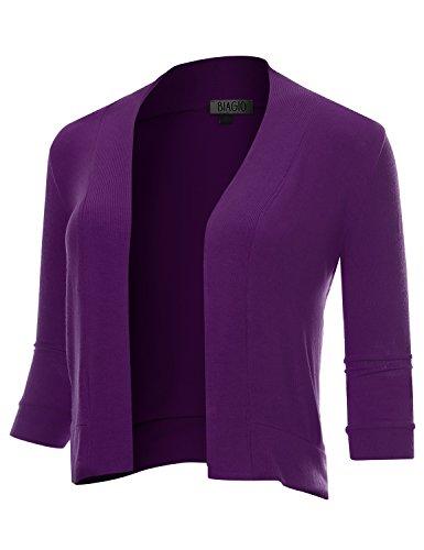 BIADANI Women Classic 3/4 Sleeve Crop Cardigan Purple Large