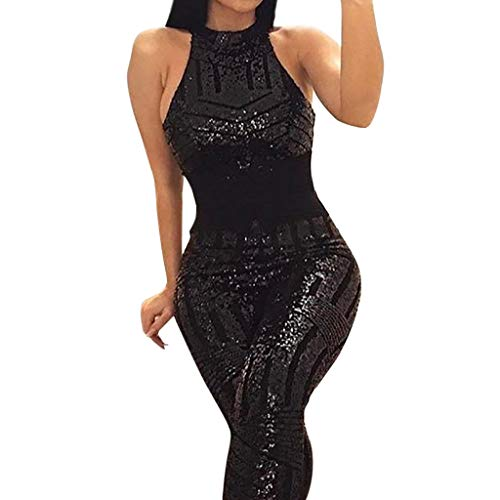 0644be5b8d7 Amazon.com  Sunyastor Women Sparkly Sequins Lace up Backless O-Neck  Sleeveless Bodycon Long Jumpsuit Off Shoulder Romper Clubwear S-XL  Clothing