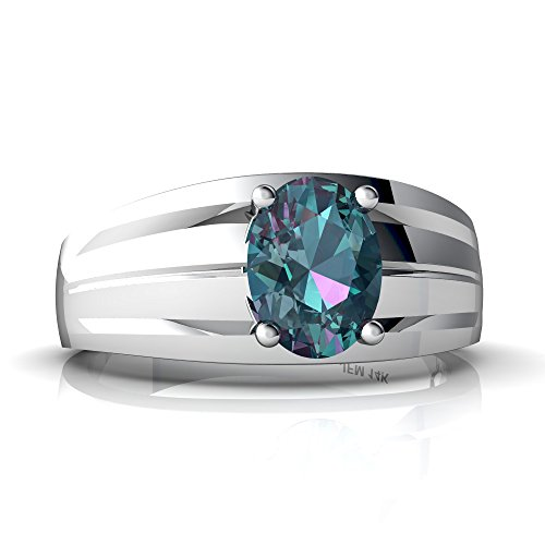 14kt White Gold Lab Alexandrite 8x6mm Oval Men's Ring - Size 11.5