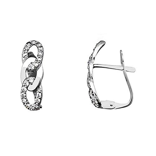 Boucled'oreille 18k blanc chaîne d'or zircons lisses [AA6349]