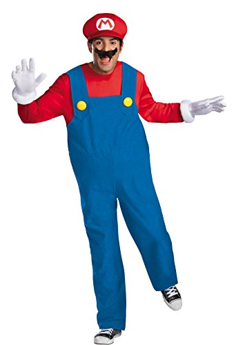 UHC Men's Deluxe Super Mario Bros Hat & Gloves Theme Party Costume, XL (42-46) (Super Mario Mascot)