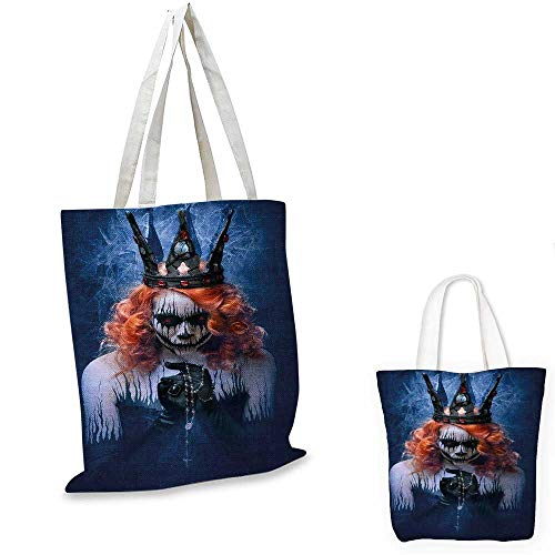 Queen royal shopping bag Queen of Death Scary Body Art Halloween Evil Face Bizarre Make Up Zombie funny reusable shopping bag Navy Blue Orange Black. -