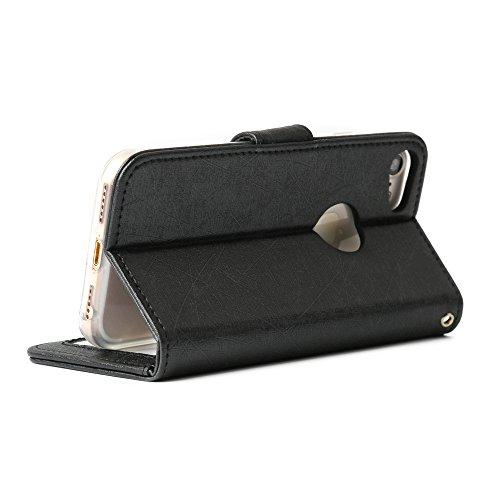 """Boriyuan Iphone 7 PU Leder Hülle Case Tasche Cover für Apple Iphone 7 4.7"""" 4.7 Zoll Schutzhülle Wallet Design mit Fächern für Bankkarte, Displayschutzfolie für Iphone 74.7 inklusive (Farbe: Schwarz)"""