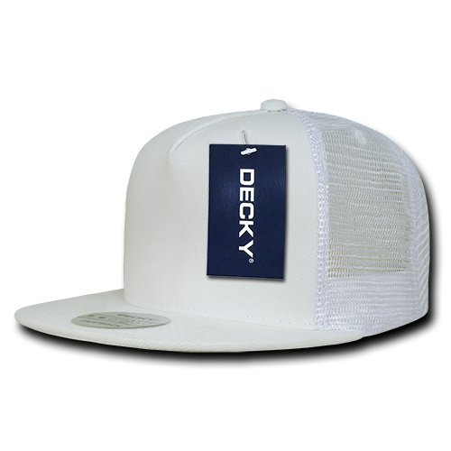 DECKY 5 Panel Flat Bill Trucker Cap Hats, White