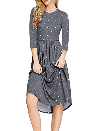 NICIAS Women Polka Dot 3/4 Sleeve Casual Dress Tunic Vintage Loose Swing Pleated Midi Dress Grey M ()